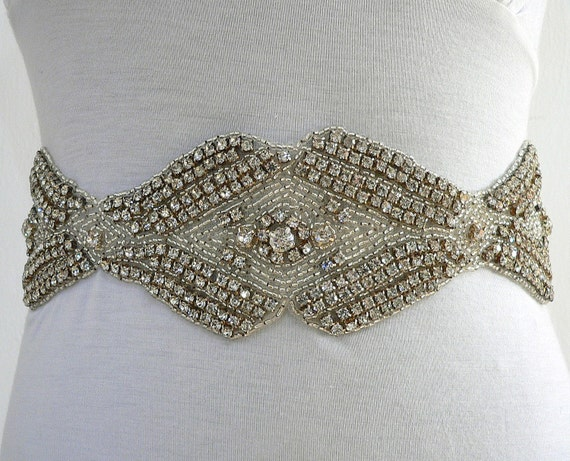 Vintage Chic  -Bridal or special occasion CRYSTAL  SASH