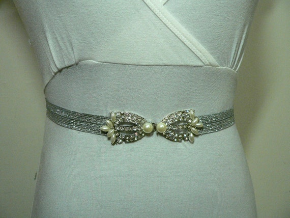 Ivory Pearls and Crystals- Wedding or Special occasion BELT