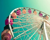Ferris Wheel Print, Baby Nursery Decor, Modern, Teal, Wall Art, Carnival Print, Kids Room Decor, Green Blue Photograph