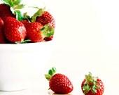 Strawberries Print, Red, White, Food Photography, Kitchen Art, Minimalist, Modern, Kitchen Decor, Wall Art