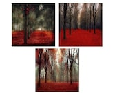 Sale - Set of 3 Red & Black Canvas Art Set - Rustic Home Decor, Autumn, Fall Forest Rustic Canvas Wall Art Set