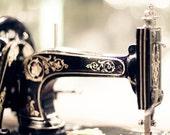 SALE, Craft Room Prints, Black, Gold, Vintage Sewing Machines, Photo Set, Set of 3 Prints, Save 50%