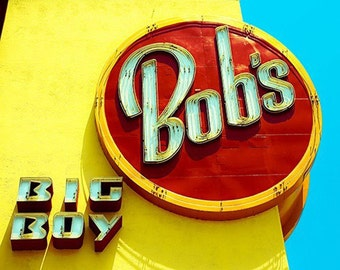 Bob's Big Boy Print, Kitchen Wall Art, Retro, Yellow Red, Blue, Mid Century Modern Diner, Restaurant Sign