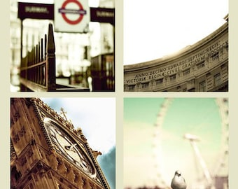 SALE, London photography, Set of 4 Prints, Big Ben, Underground, Travel Photography, London Prints