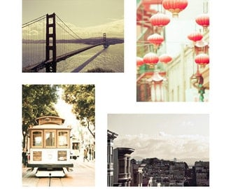 SALE, San Francisco Art, Pastel, Peach, Mint Green, Travel Photography, Chinatown, Lanterns, Cable Cars, Set of 4 Prints