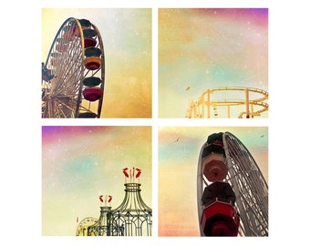 SALE, Carnival 4 Photo Set, Yellow, Pink, Santa Monica, Ferris Wheels, Baby Neutral Nursery Decor