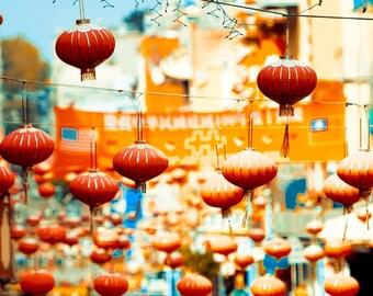 Chinese Lanterns, San Francisco Art, Orange, Blue, San Francisco Print, Good Luck, Chinatown, Travel Photography