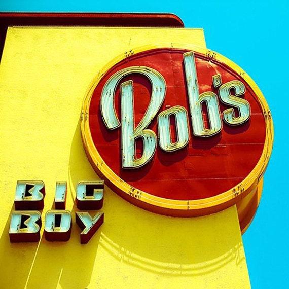 Bob's Big Boy Print, Kitchen Wall Art, Retro, Yellow Red, Blue, Mid Century Modern Diner, Restaurant Sign