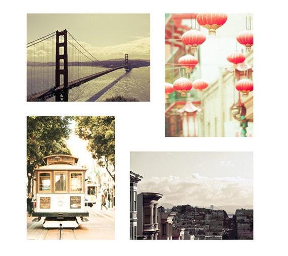 SALE, San Francisco Art, Pastel, Peach, Mint Green, Travel Photography, Chinatown, Lanterns, Cable Cars, Set of 4 Prints