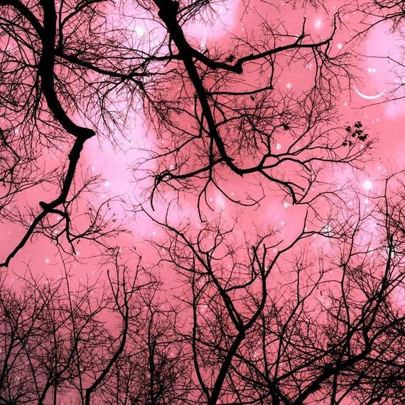 Nature Photography, Pink, Girl Nursery Decor, Black, Pink Trees Print, Moon and Stars, Woodland Nursery
