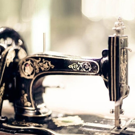 SALE, Craft Room Prints, Black, Gold, Vintage Sewing Machines, Photo Set, Set of 3 Prints, Save 50%