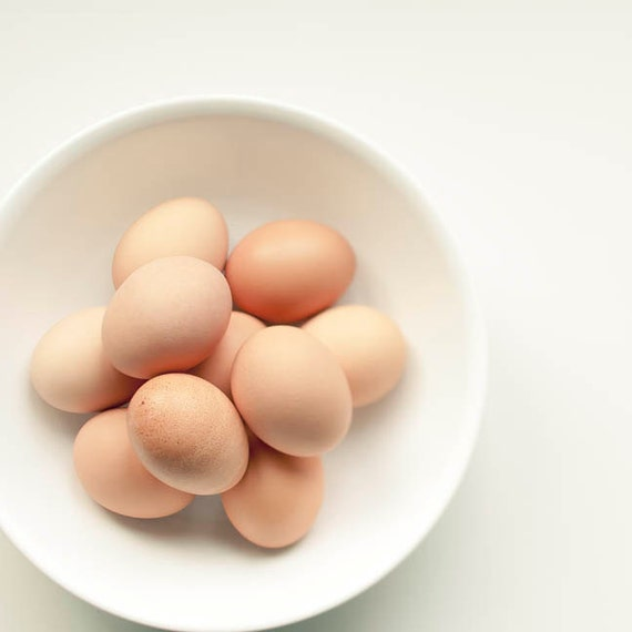 Brown Eggs, Food Photography, Beige White, Rustic Kitchen Decor, Neutral, Art for Kitchen Print