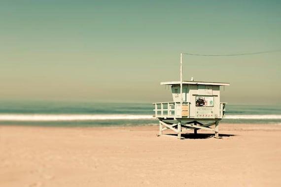 Green Beach Print, Mint Green, Beige, Lifeguard Hut, Santa Monica, California Print, Ocean Photography Large Wall Art