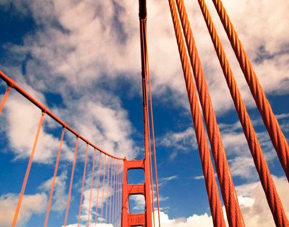 Blue and Orange Office Decor, San Francisco Photography, Art Deco Architecture, Golden Gate Bridge
