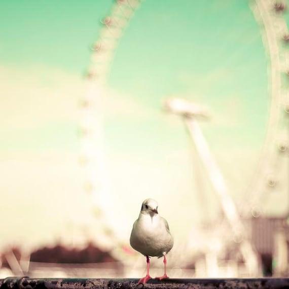 London Print, Mint Green, White, Millennium Wheel, London Travel Photography, UK Photo, Ferris Wheel, London Eye