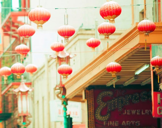 San Francisco Art, Chinese Lanterns, Peach, Mint Green, Bedroom Wall Art, Orange Lantern, Chinatown, Good Luck