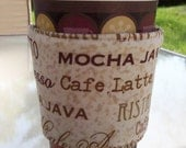 SALE - Coffee Word Print and Coffee Bean Fabric - Eco Friendly Reversable Coffee Cozy