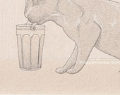 """Thirsty Cat, Limited Edition Art Print Drawing 8""""x12"""""""