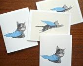 The Superhero Cat - Card set of 4 Folded