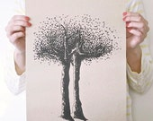 Eerie Trees/ Large Print On Twig Straw Paper