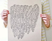 All Feathered / Large Linear Print On Twig Straw Paper