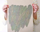 Feathered In Blue Aqua Moss Green/ Large Linear Print On Twig Straw Paper