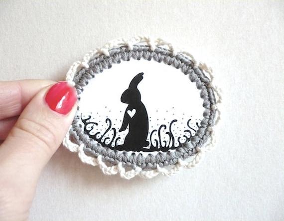 Rabbit Heart Brooch /SALE/ Illustration Crochet Frame /Black Silhouette Pin, Wearable Art Jewelry