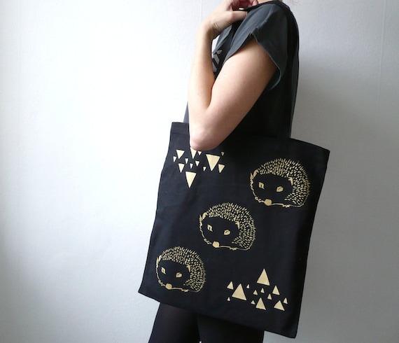 Organic Canvas Bag/ The Hedgehog/ Screen Print Black Gold