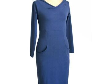 SALE Hoodie dress with pockets, long sleeve dress, hooded dress, Denim blue dress, ready to ship dress, Sale dress