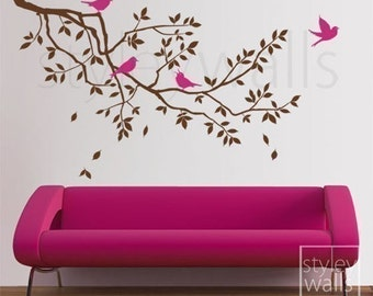 Branch Wall Decal Branch and Birds Wall Decal Sticker - GIFT BIRDS - Tree Wall Decal Children Nursery Baby Room Art Design Room Decor