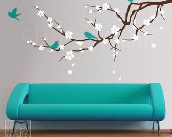 Cherry Blossom Branch Wall Decal, Blossoming Cherry Tree Branch Birds Wall Decal, Flowers Wall Decal Sticker for Children Nursery Kids Room