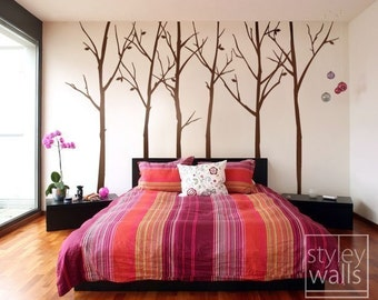 Thin Birch Trees Wall Decal, Forest Trees and Birds Wall Decal, Winter Trees with Birds Home Decor,  Nursery Baby Room Wall Decal