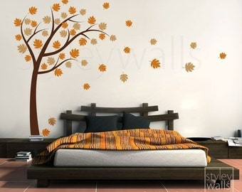 Tree with Leaves Wall Decal, Autumn Tree with Leaves Blowing in the Wind Vinyl Wall Decal, Tree Wall Sticker for Home Office Bedroom Decor