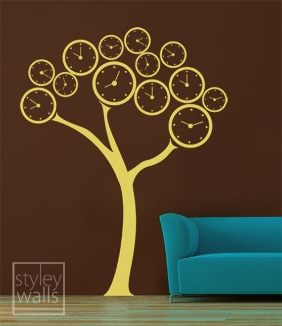 Clock Tree Vinyl Wall Decal, Surreal Clock Tree Wall Sticker, Polka Dots Wall Decal, Clock Wall Decal, Tree Wall Decal for Home Living Room