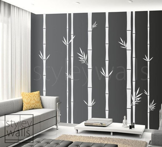 Bamboo wall decal 100inch tall set of 8 bamboo by styleywalls for Bamboo wall art