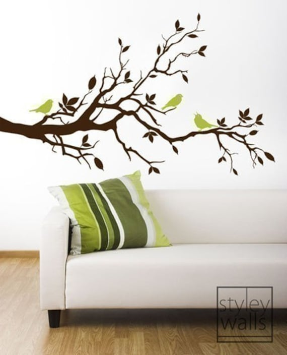 Ordinaire Tree Branch Wall Decal Love Birds On Branch With Leaves   Vinyl Wall Decal  Art Home Decor Nursery Kids Children Baby Room Wall Decal