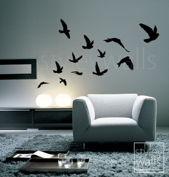 flying birds wall decal birds wall sticker flying by flock of flying birds wall stickers bird wall decal