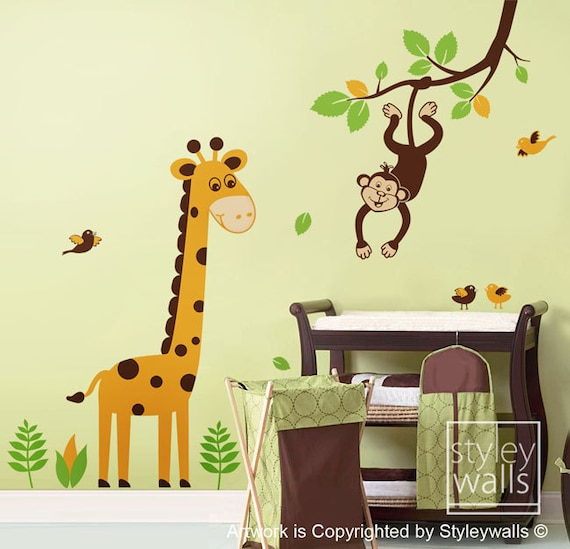 Giraffe Wall Decal Jungle Animals Monkey Swinging from Branch and Cute Giraffe Wall Decal Nursery Kids Baby room Vinyl Wall Decal
