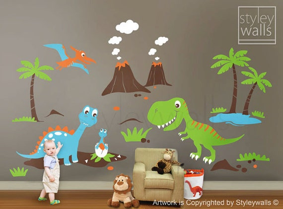 Children wall decals dino land dinosaurs wall decal by for Dinosaur pictures for kids room