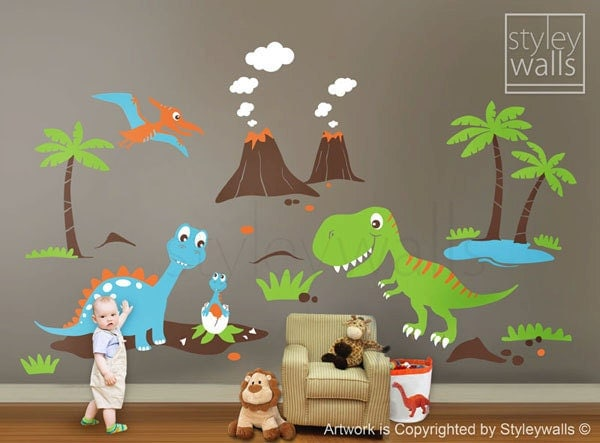 Children wall decals dino land dinosaurs wall decal by styleywalls - Boys room dinosaur decor ideas ...