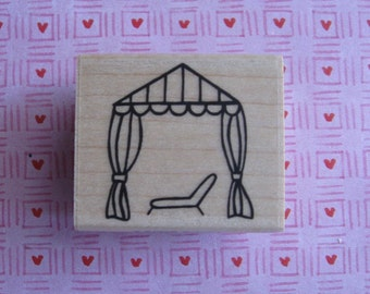 CABANA - (Chaise, Lounge Chair, Summer, Canopy, Beach) - A Muse Rubber Stamp