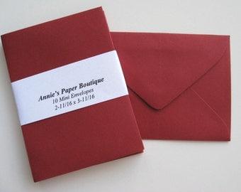 10 Mini Envelopes - Garnet, Crimson