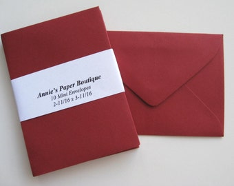 10 Mini Envelopes - Garnet, Crimson -Card Making, Paper Crafting, Gift Cards, Tags, Souvenirs, Mementos, Notes, Gift Giving