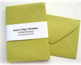 10 Mini Envelopes - Celery, Green