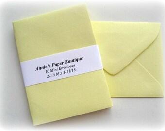 10 Mini Envelopes - Lemonade, Light Yellow
