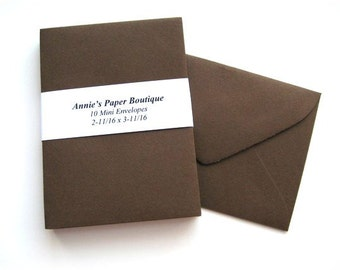 10 Mini Envelopes - Chocolate Brown