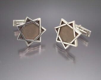 Sterling Silver Septagram Babalon Cufflinks