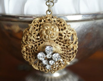 Vintage Gold Filigree Medallion with Repurposed Vintage Rhinestones Necklace