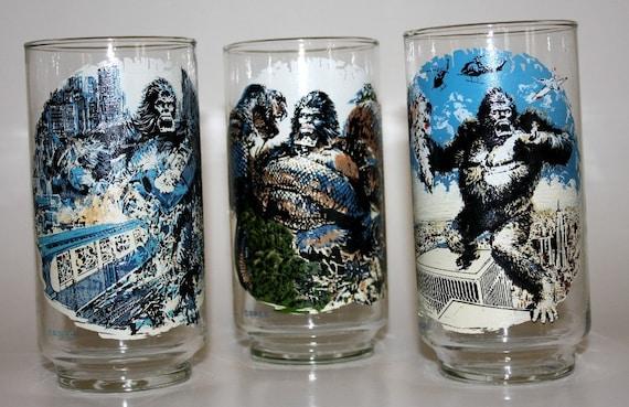 3 Vintage 1976 King Kong Coca Cola Glasses