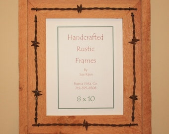 Picture Frame - 8 X 10 - Rustic Wood - Barbed Wire - Western - Recycled